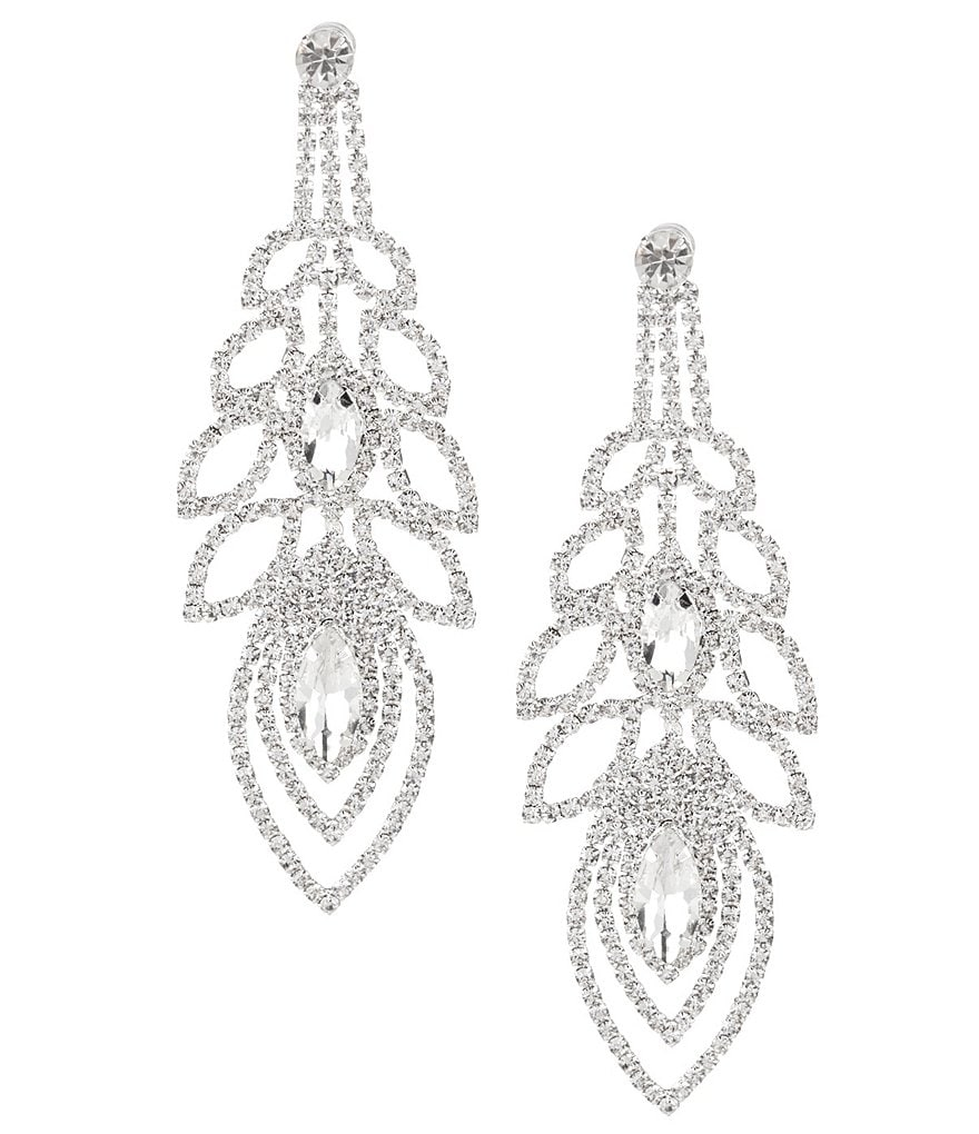 Cezanne Rhinestone Open Ovals Chandelier Statement Earrings