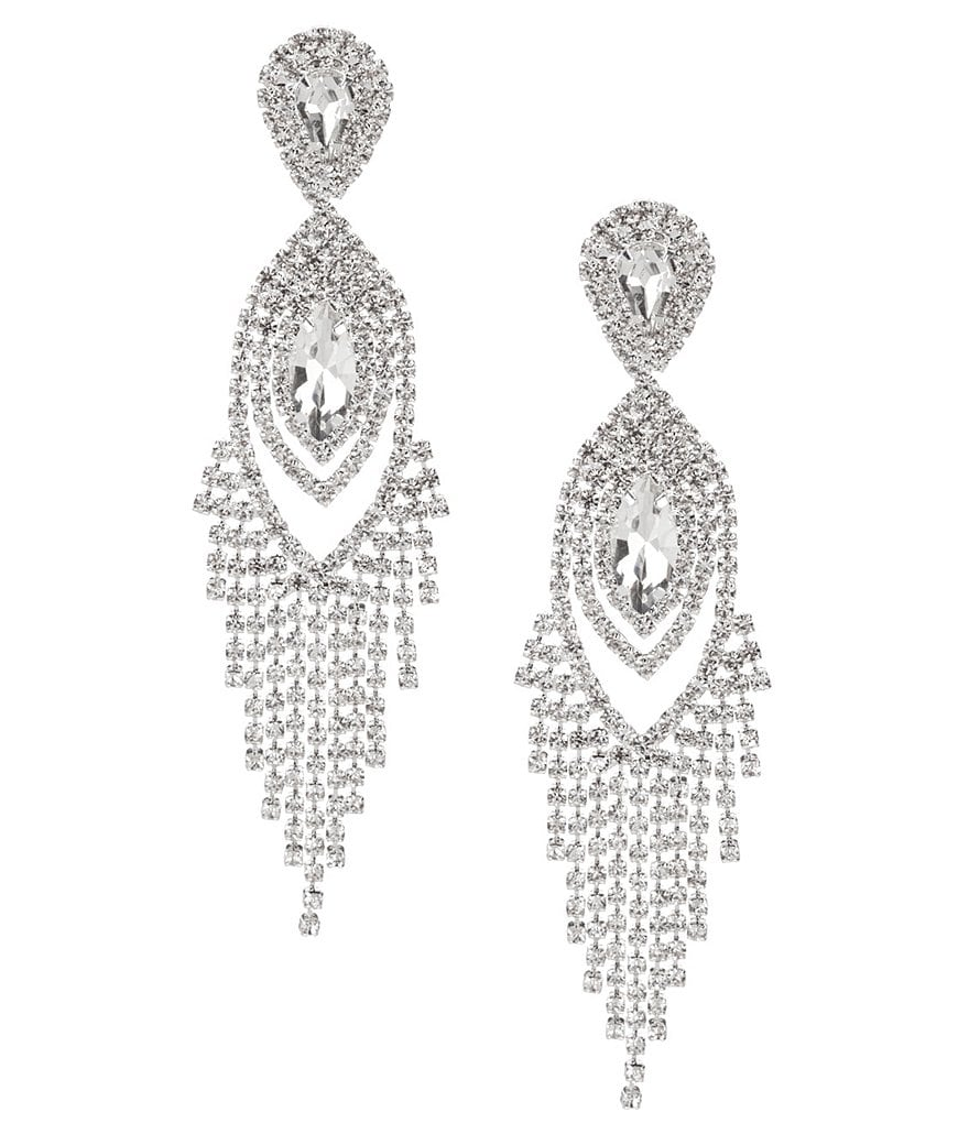Cezanne Navette Rhinestone Fringe Statement Earrings