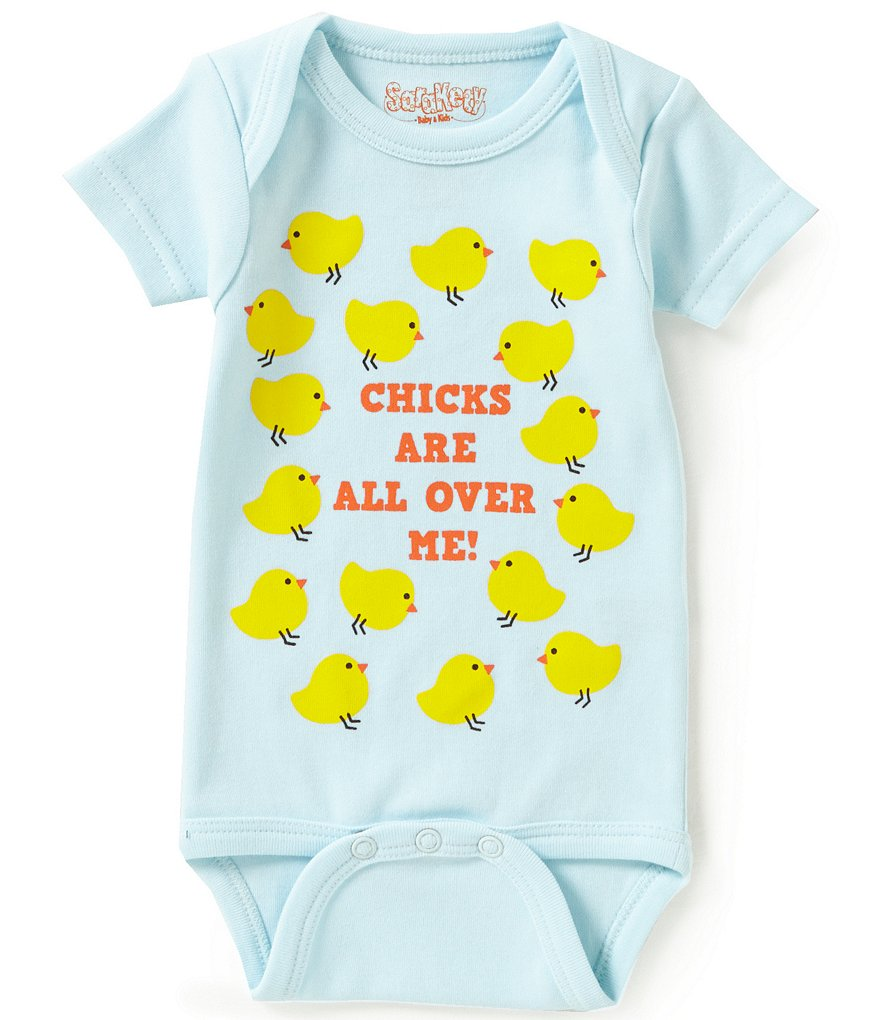 Sara Kety Baby Boys Newborn-12 Months Chicks Are All Over Me Short-Sleeve Bodysuit