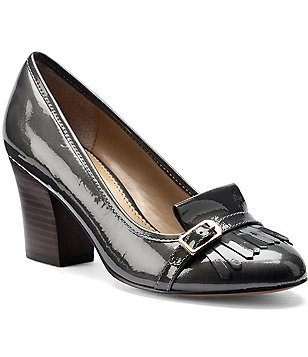 Isola Tara Kiltie Hi-Gloss Patent Leather Kilt Accent Slip-On Block Heel Pumps