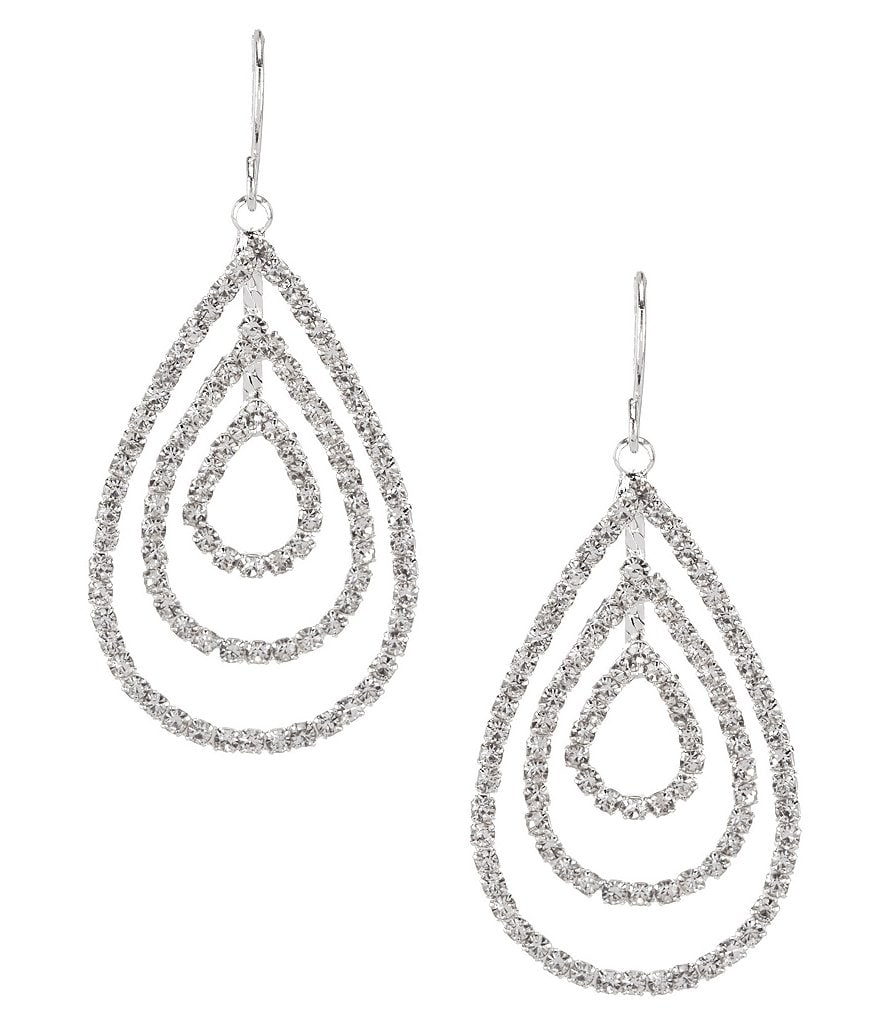 Cezanne Rhinestone Layered Teardrop Earrings