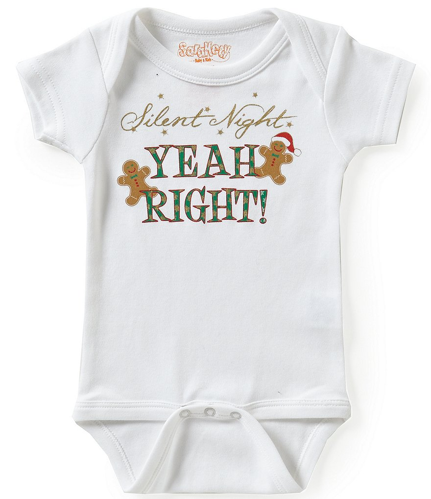 Sara Kety Newborn-18 Months Christmas Silent Night Short-Sleeve Bodysuit