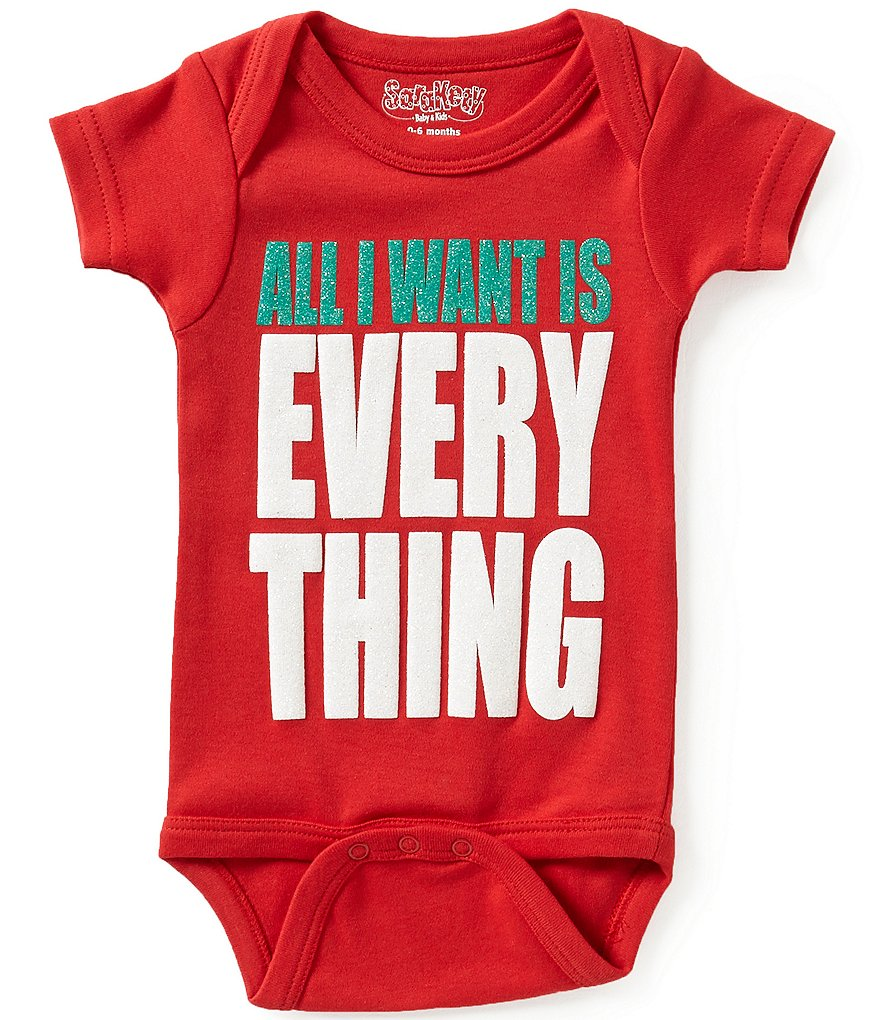 Sara Kety Newborn-18 Months Christmas All I Want Is Everything Short-Sleeve Bodysuit