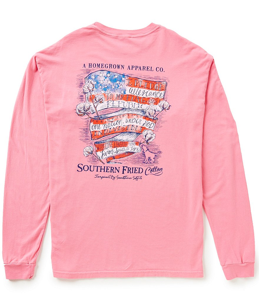 Southern Fried Cotton Men´s Southern Belle Pledge Graphic Long-Sleeve Pocket Tee