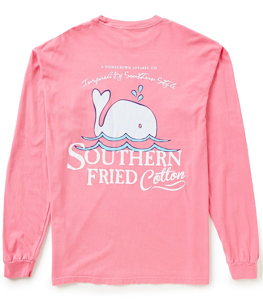 Southern Fried Cotton Men´s Baby Whale Graphic Long-Sleeve Pocket Tee