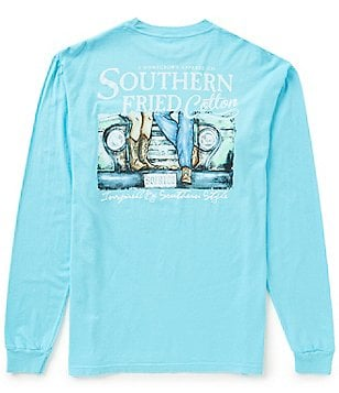 Southern Fried Cotton Men´s First Date Graphic Long-Sleeve Pocket Tee
