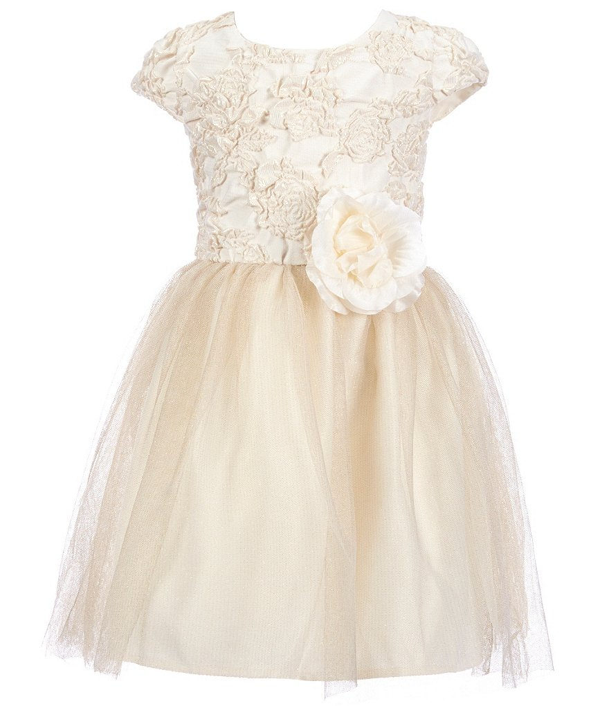 Zunie Little Girls 2T-6X Brocade Floral Dress
