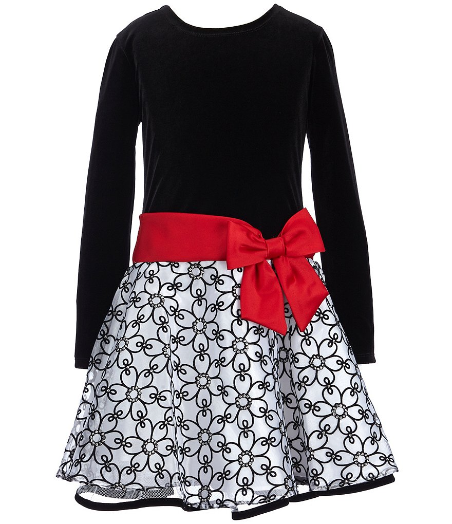 Bonnie Jean Little Girls 4-6X Dropwaist-Bow Dress