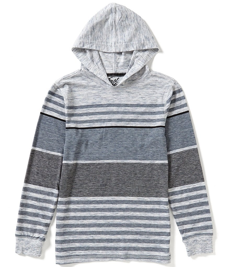 First Wave Big Boys 8-20 Striped Hooded Shirt
