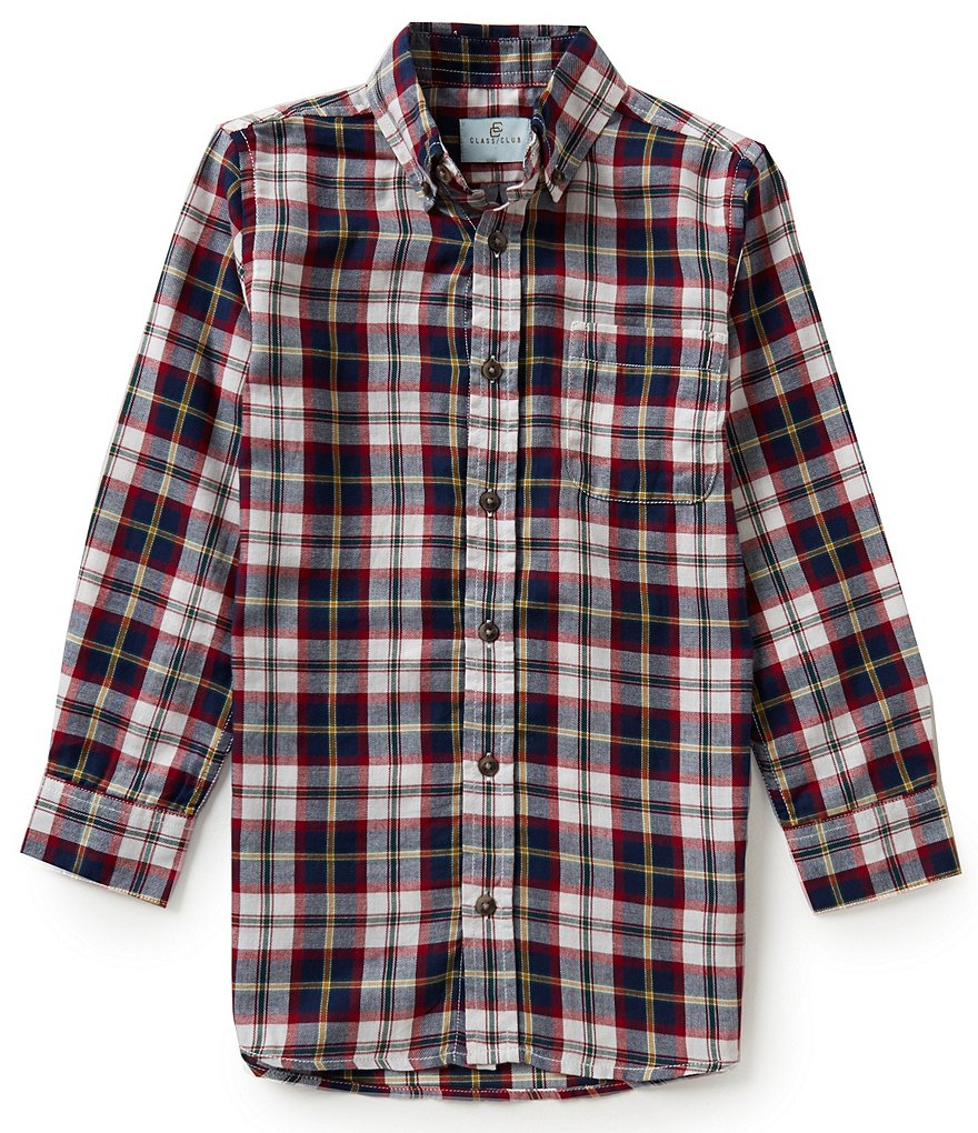 Class Club Big Boys 8-20 Long-Sleeve Plaid Shirt