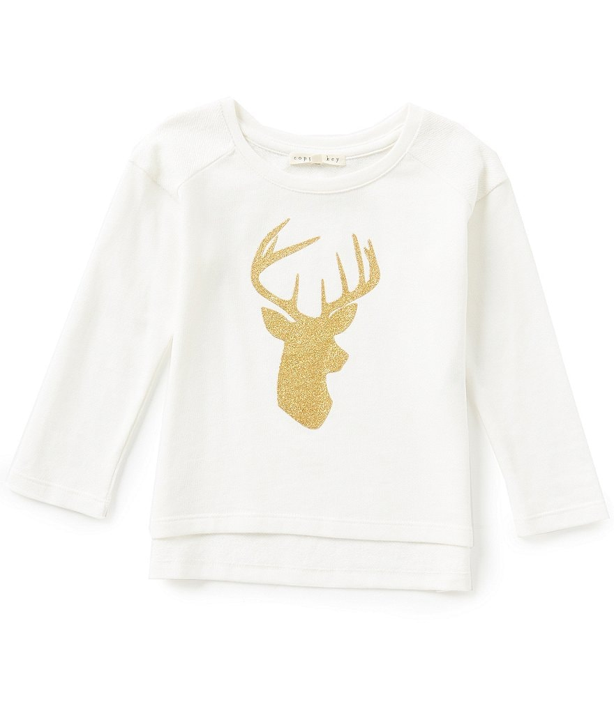 Copper Key Little Girls 2T-6X Glitter Deer Graphic Top