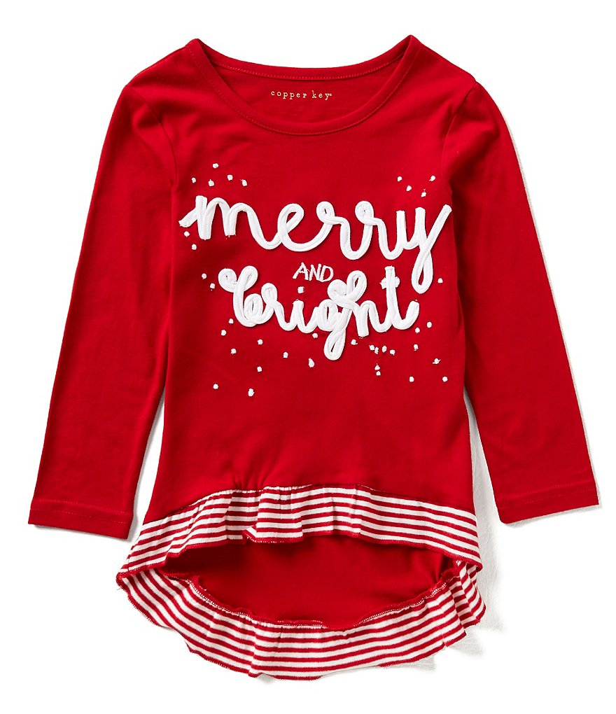 Copper Key Little Girls 2T-6X Merry And Bright Long-Sleeve Knit High-Low Christmas Top