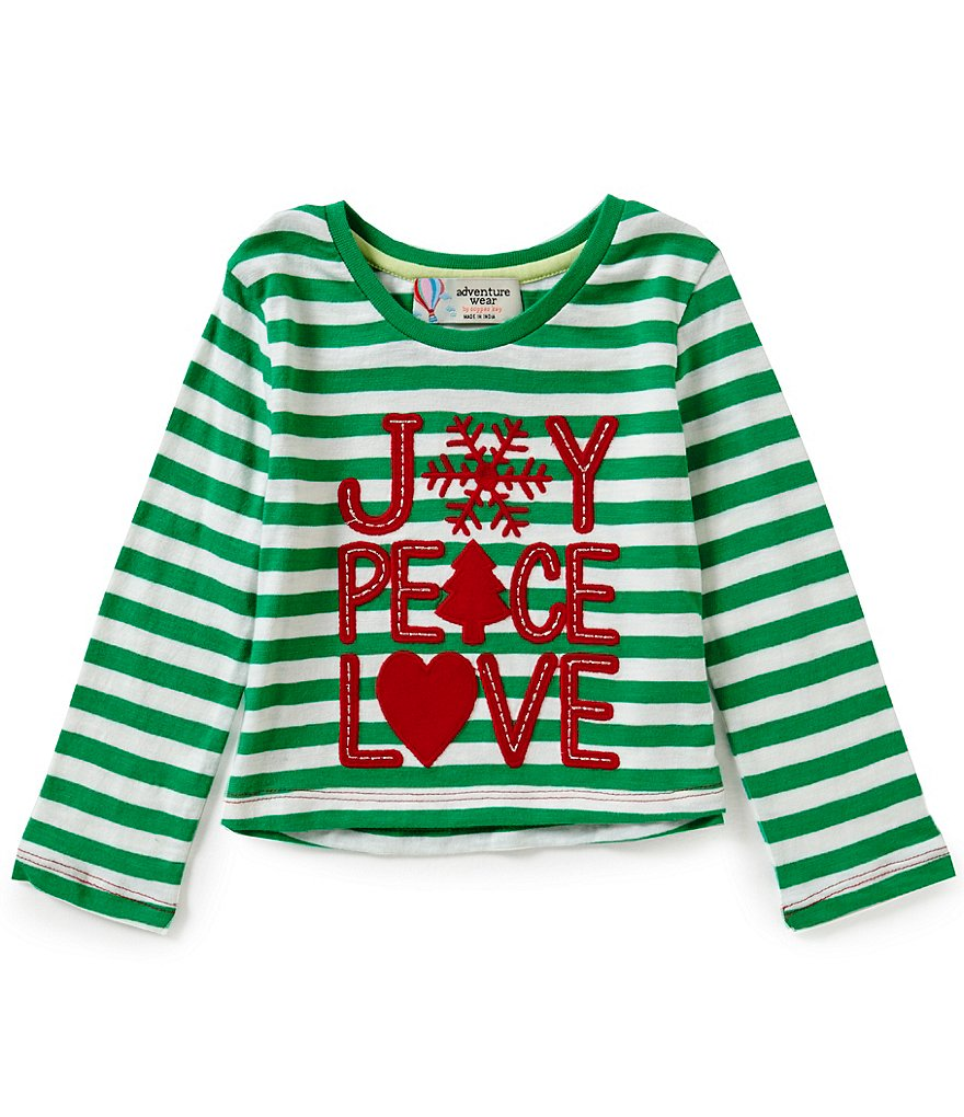 Adventure Wear by Copper Key Little Girls 2T-4T Christmas Joy Peace Love Long-Sleeve Tee