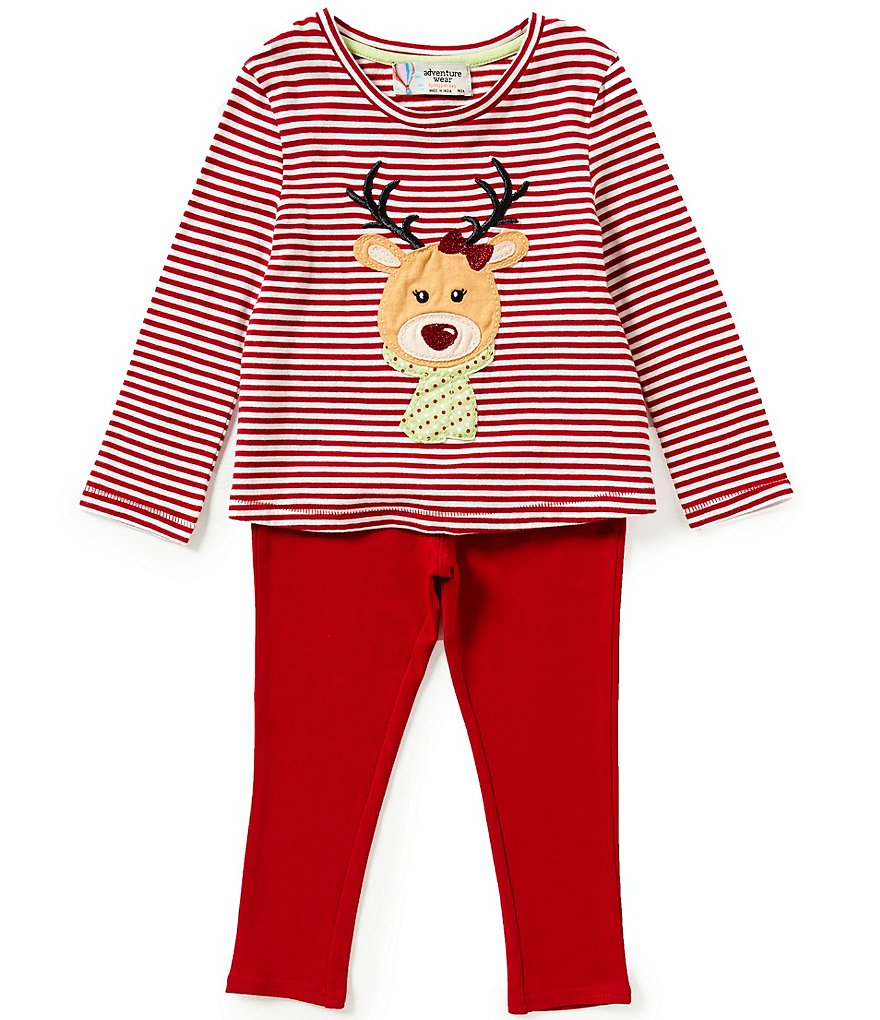 Adventure Wear by Copper Key Little Girls 2T-4T Fun Christmas Reindeer Top & Leggings Set