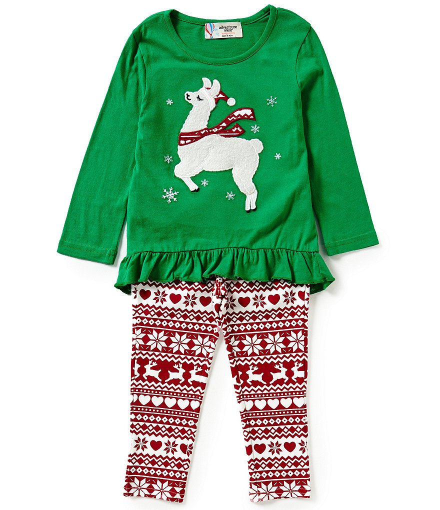 Adventure Wear by Copper Key Little Girls 2T-4T Christmas Llama Top & Leggings Set