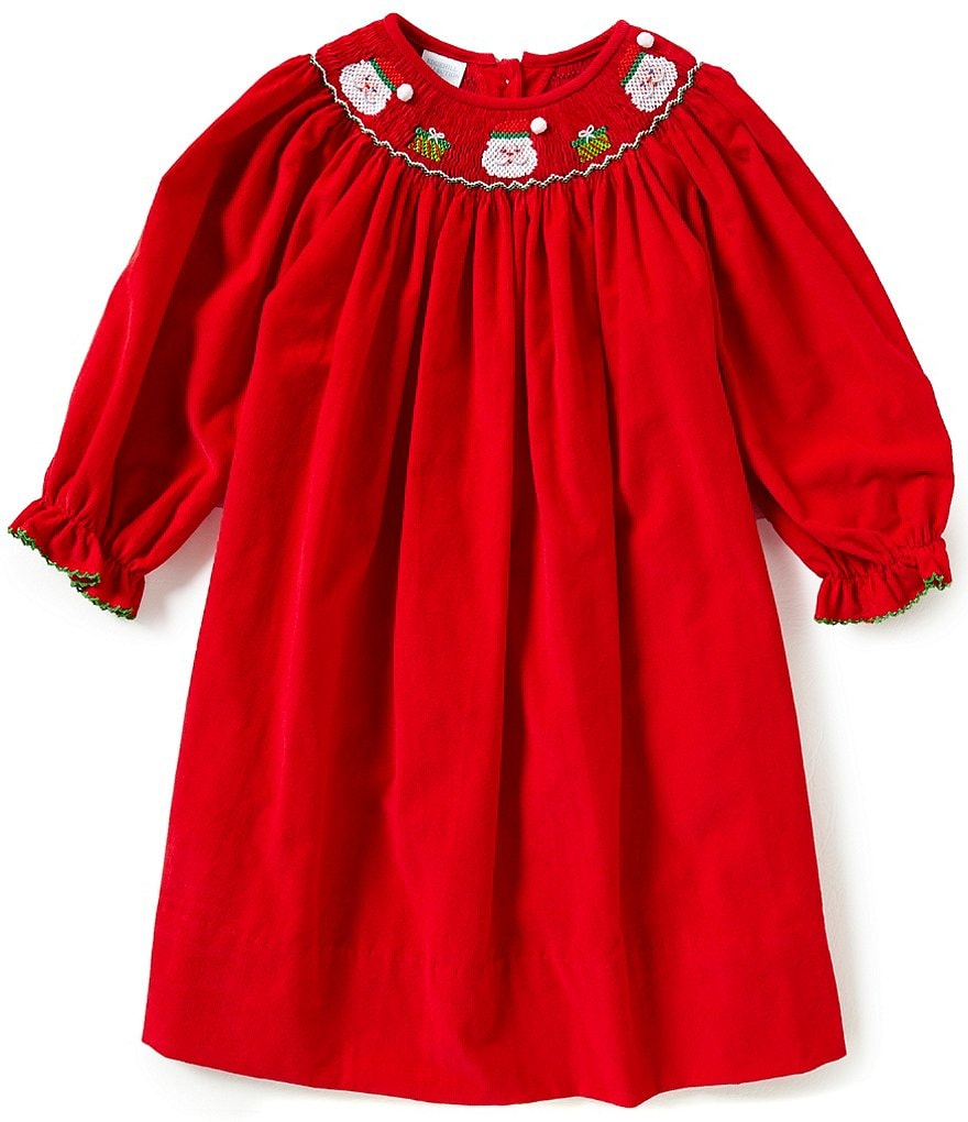 Edgehill Collection Little Girls 2T-4T Christmas Santa Face Smocked Long-Sleeve Dress