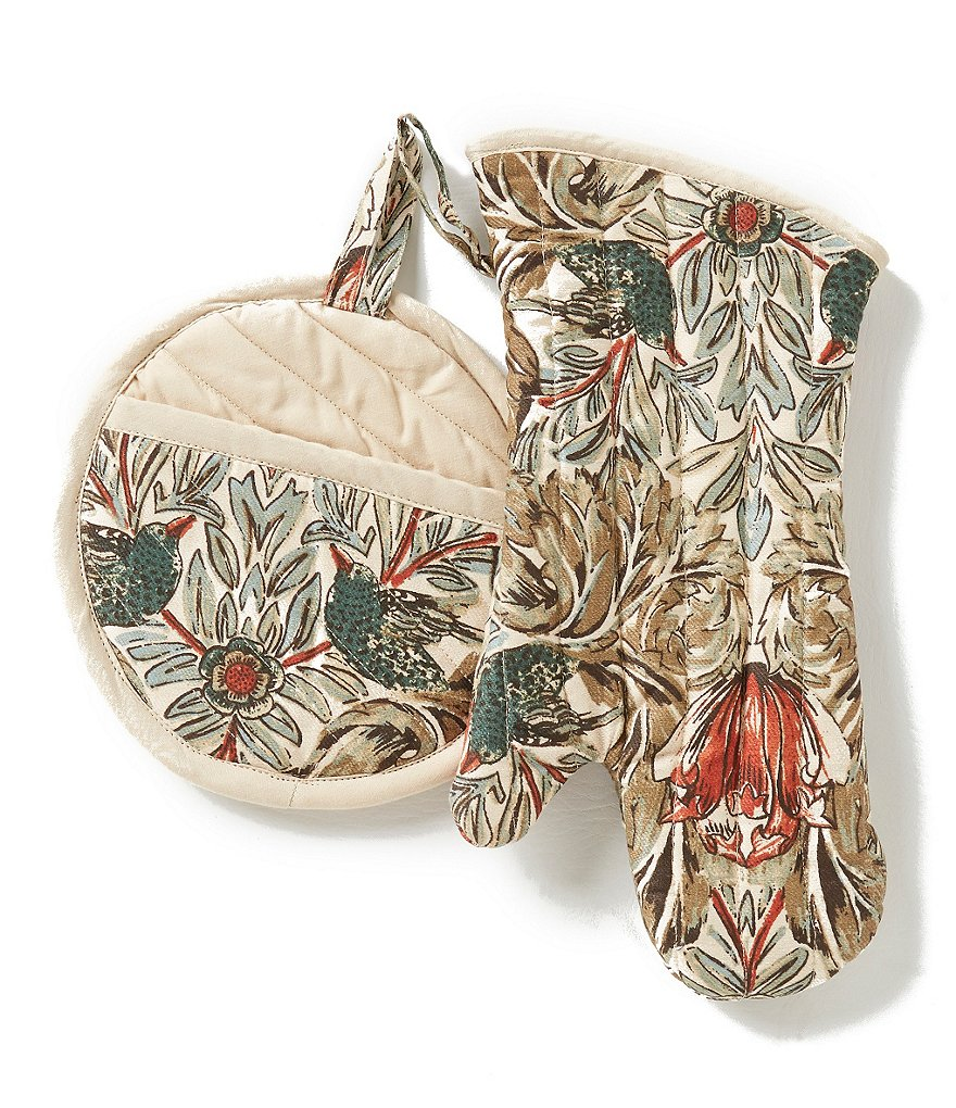 Southern Living Bird-Print Cotton Pot Holder & Oven Mitt Set
