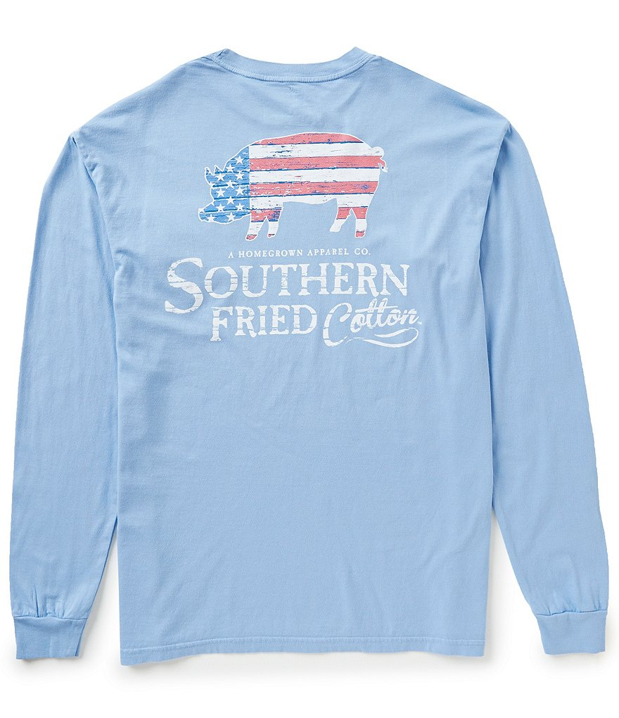 Southern Fried Cotton American Pig Graphic Long-Sleeve Tee
