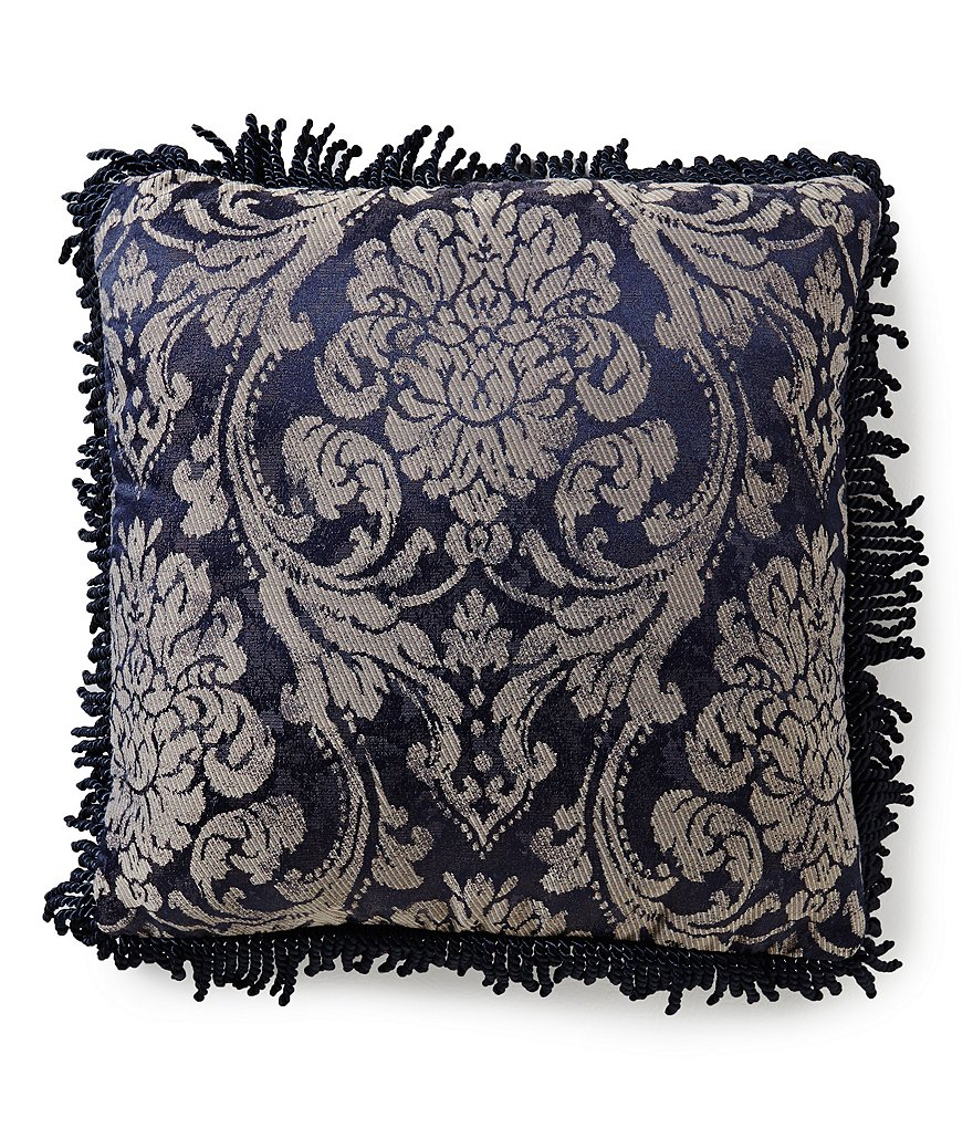 Waterford Sinclair Fringed Distressed Damask Square Pillow