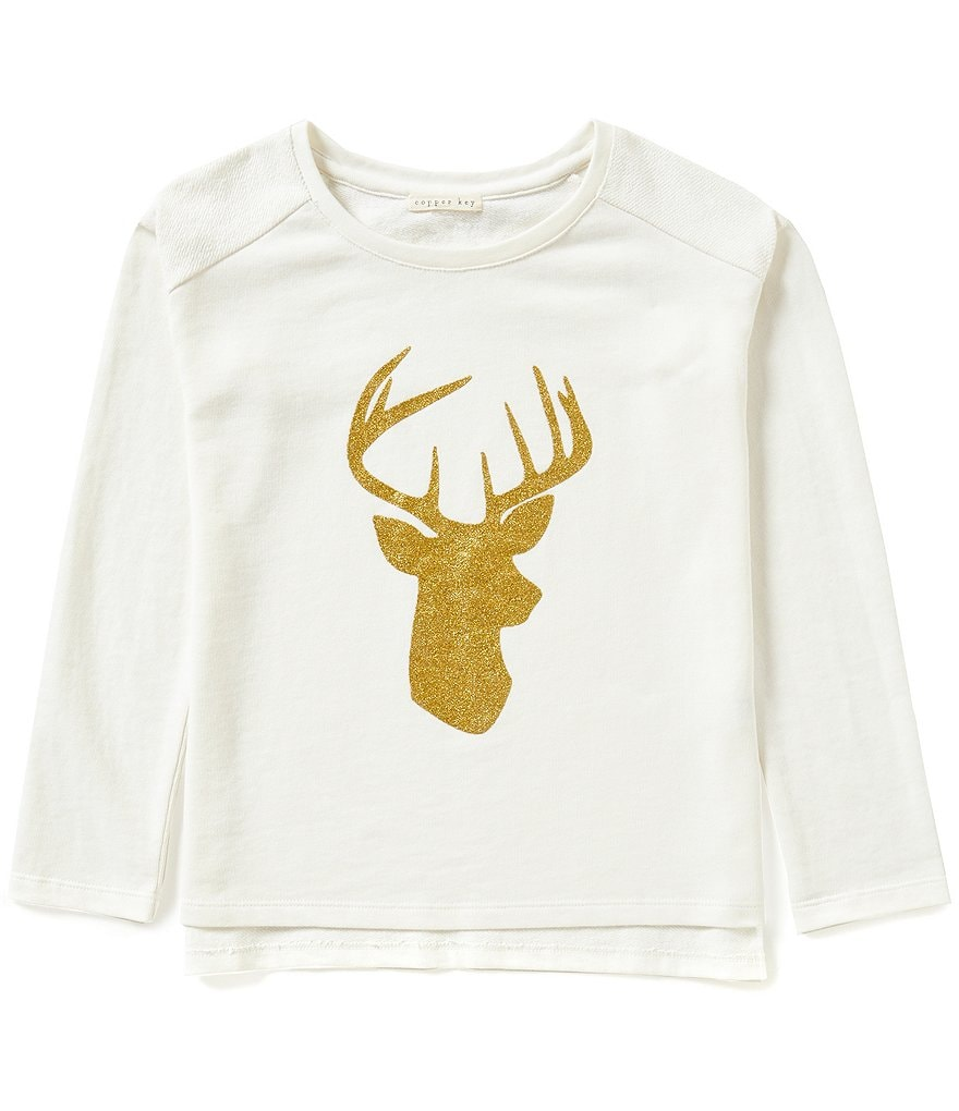 Copper Key Big Girls 7-16 Christmas Glitter Deer Top