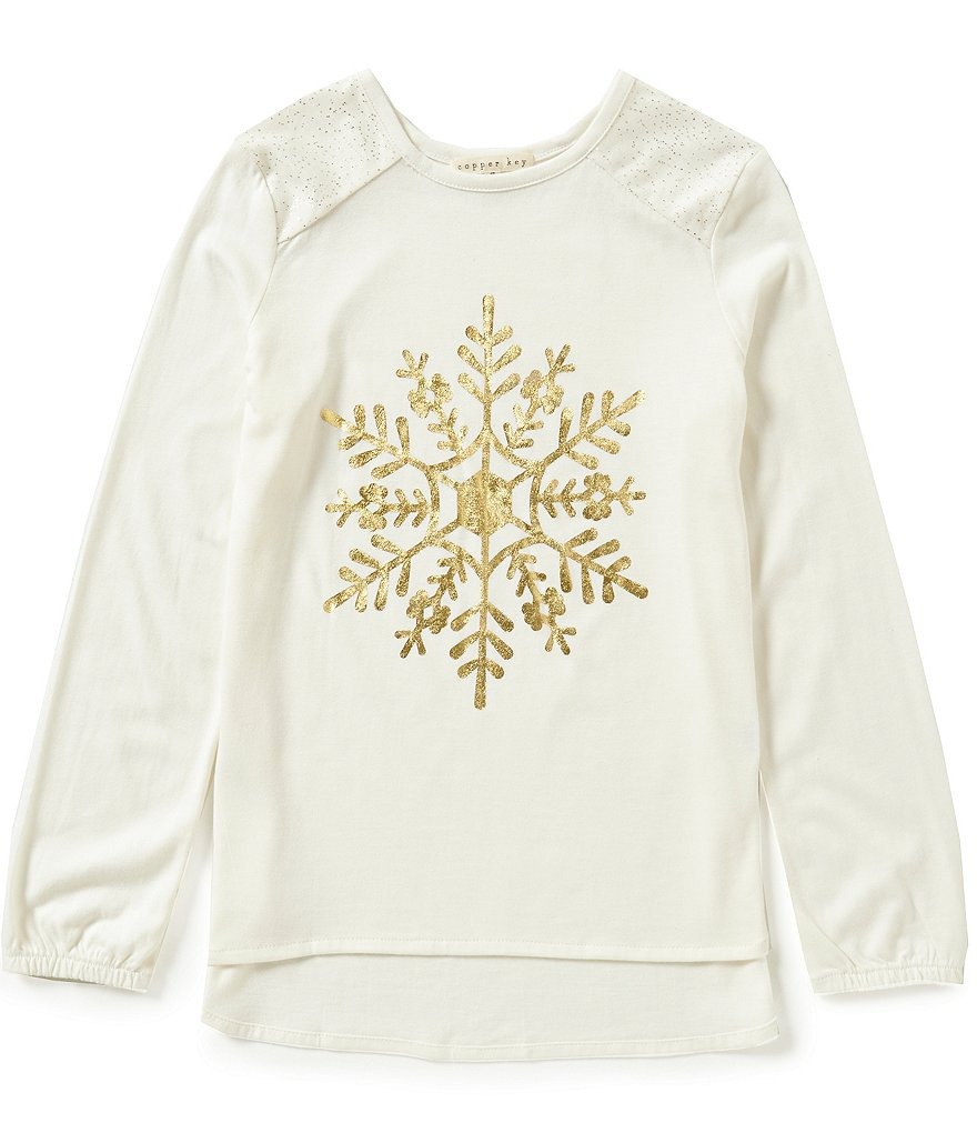 Copper Key Big Girls 7-16 Christmas Snowflake Long-Sleeve Top