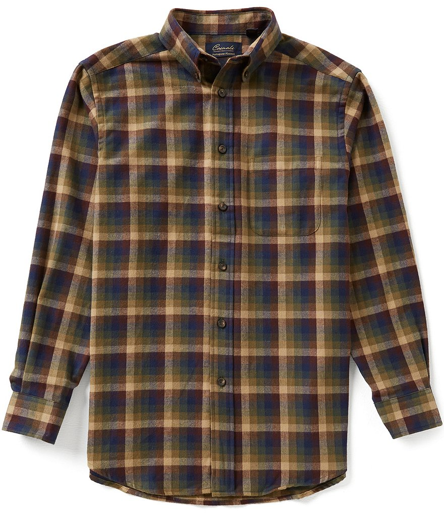 Roundtree & Yorke Casuals Long Sleeve Flannel Multi Windowpane Plaid Sportshirt