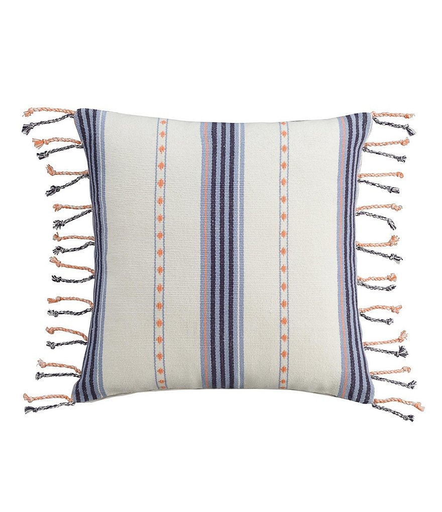 Cupcakes & Cashmere Indigo Stripe Tasseled Square Pillow