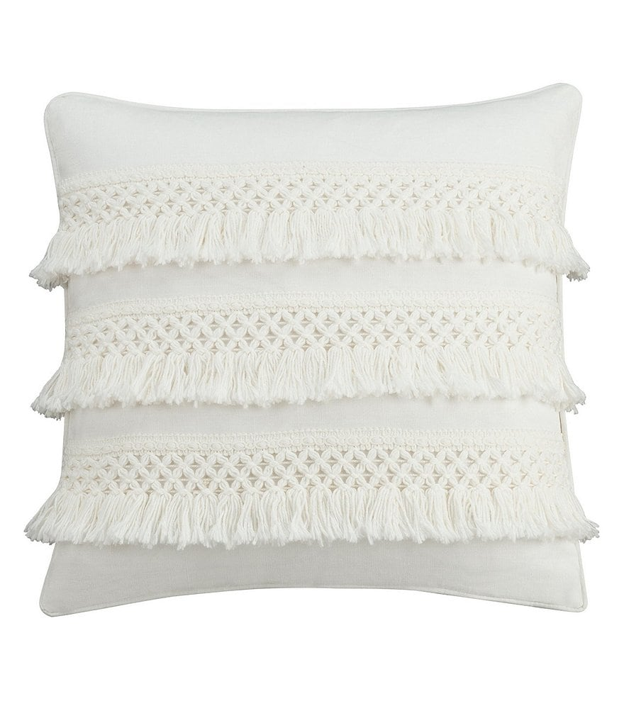 Cupcakes & Cashmere Chambray Dot Fringed Crochet Square Feather Pillow