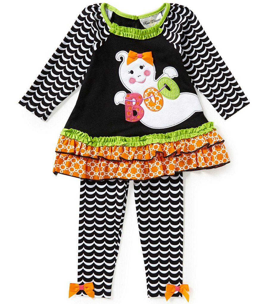 Rare Editions Baby Girls 3-24 Months Halloween Ghost Mixed-Media Tunic & Chevron Leggings Set