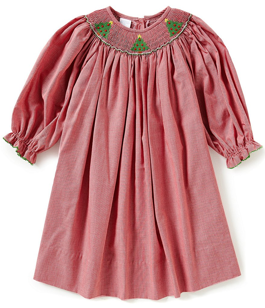 Edgehill Collection Little Girls 2T-4T Christmas Tree Face Smocked Long-Sleeve Dress