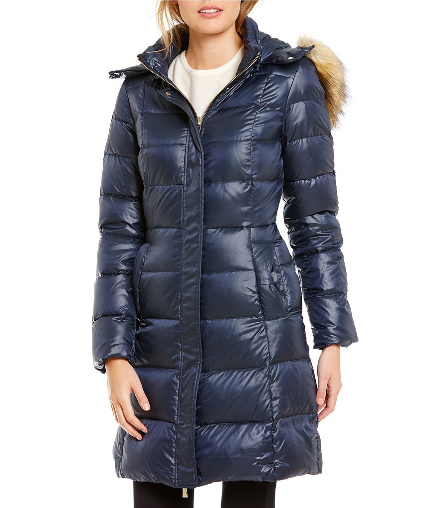 kate spade new york Soft Down Detatchable Faux-Fur Hood Walker Coat
