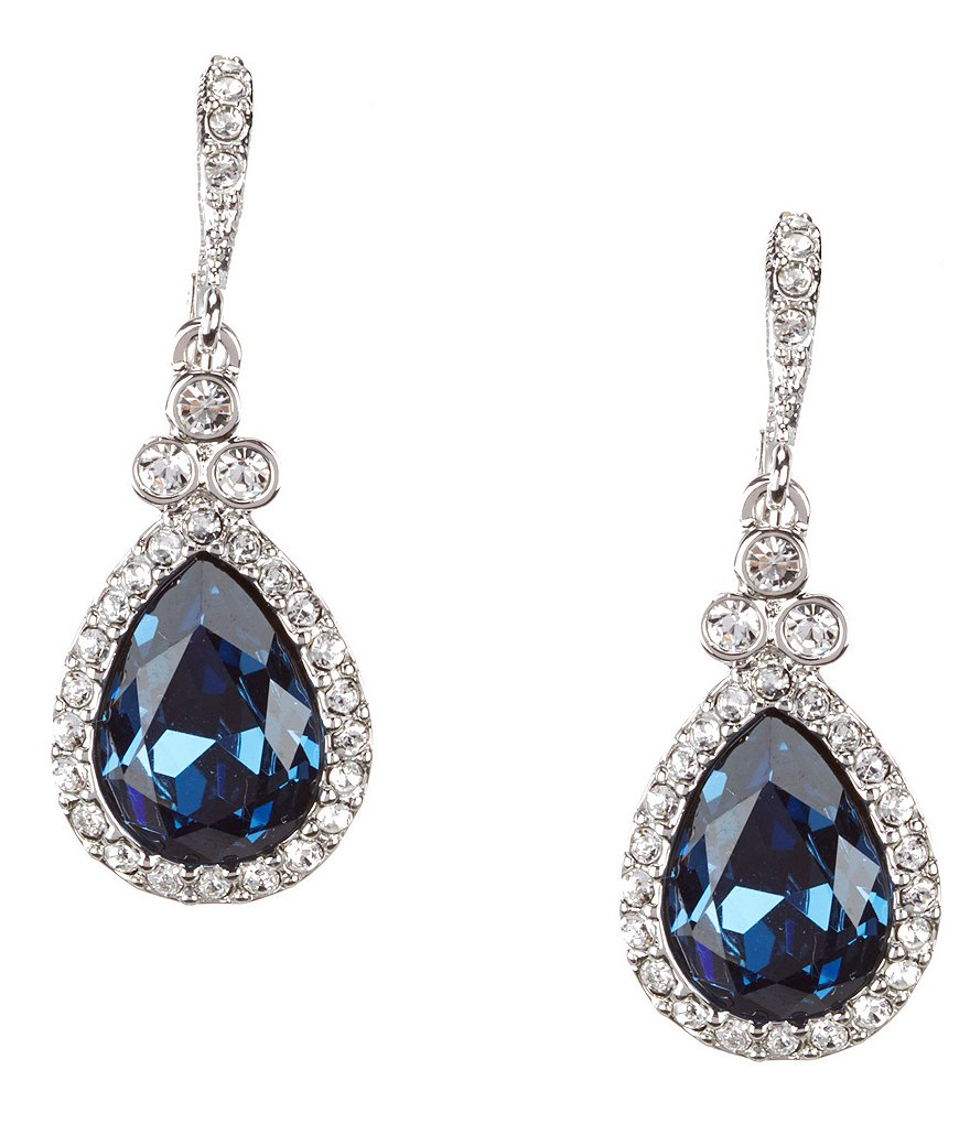 Givenchy Pavé Blue Stone Drop Earrings