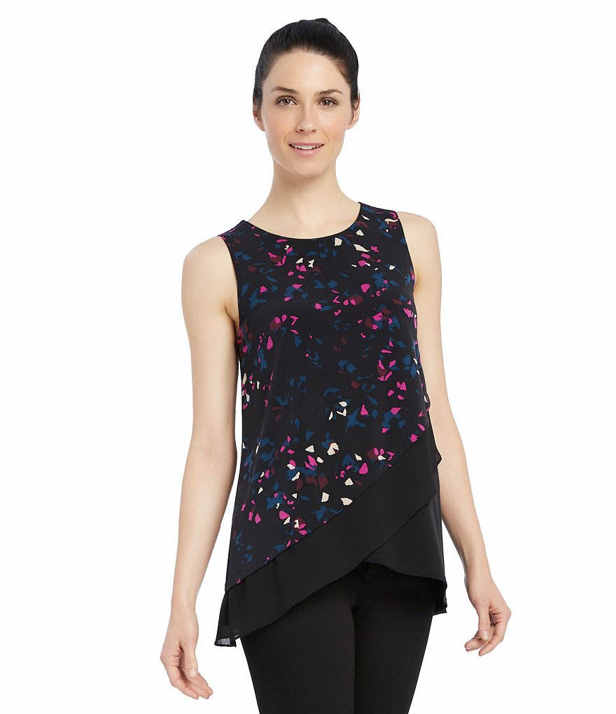 Ellen Tracy Printed Asymmetric Layered Hem Sleeveless Top