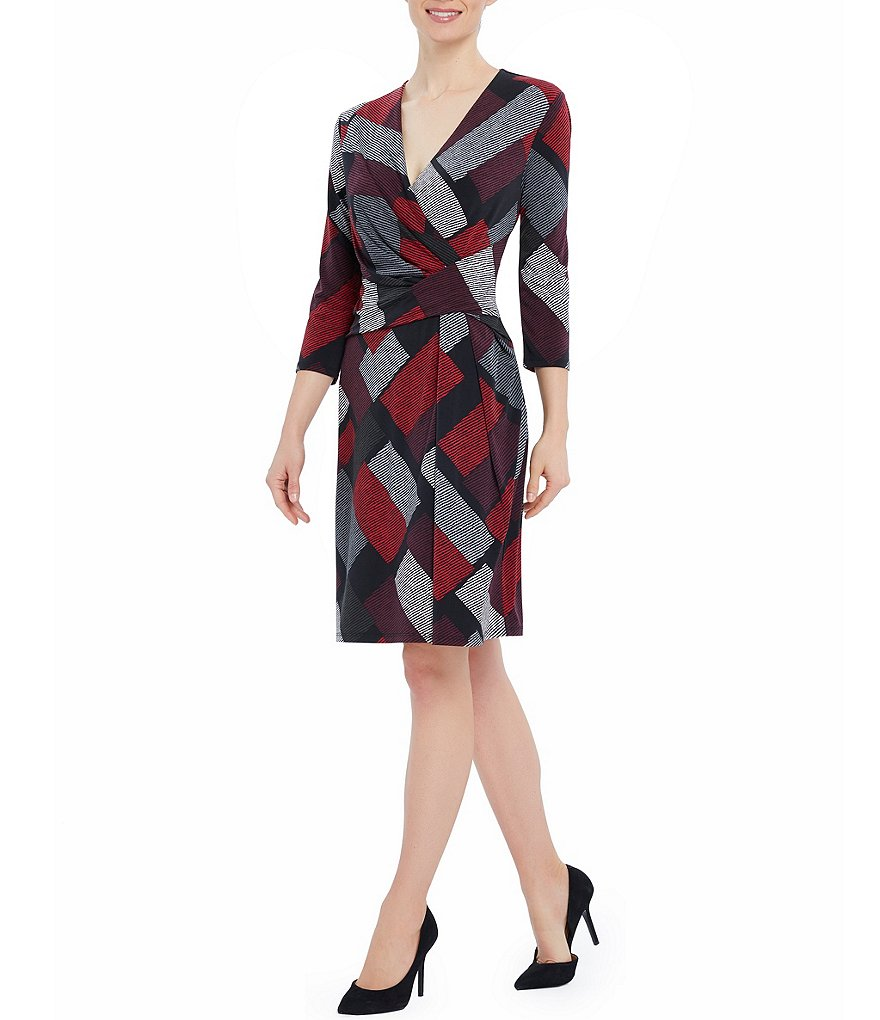 Ellen Tracy Printed Faux-Wrap Matte Jersey Twist Dress