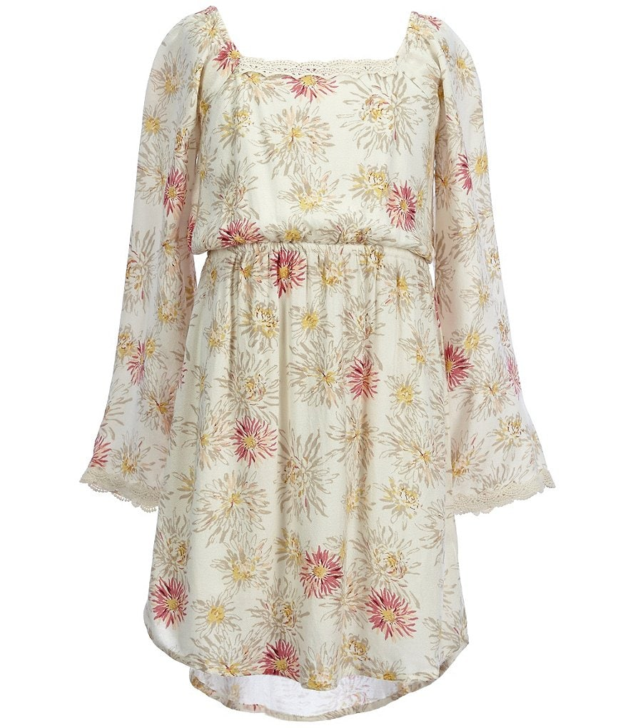 O'Neill Big Girls 7-16 Lilly Floral Printed Long Bell-Sleeve Dress