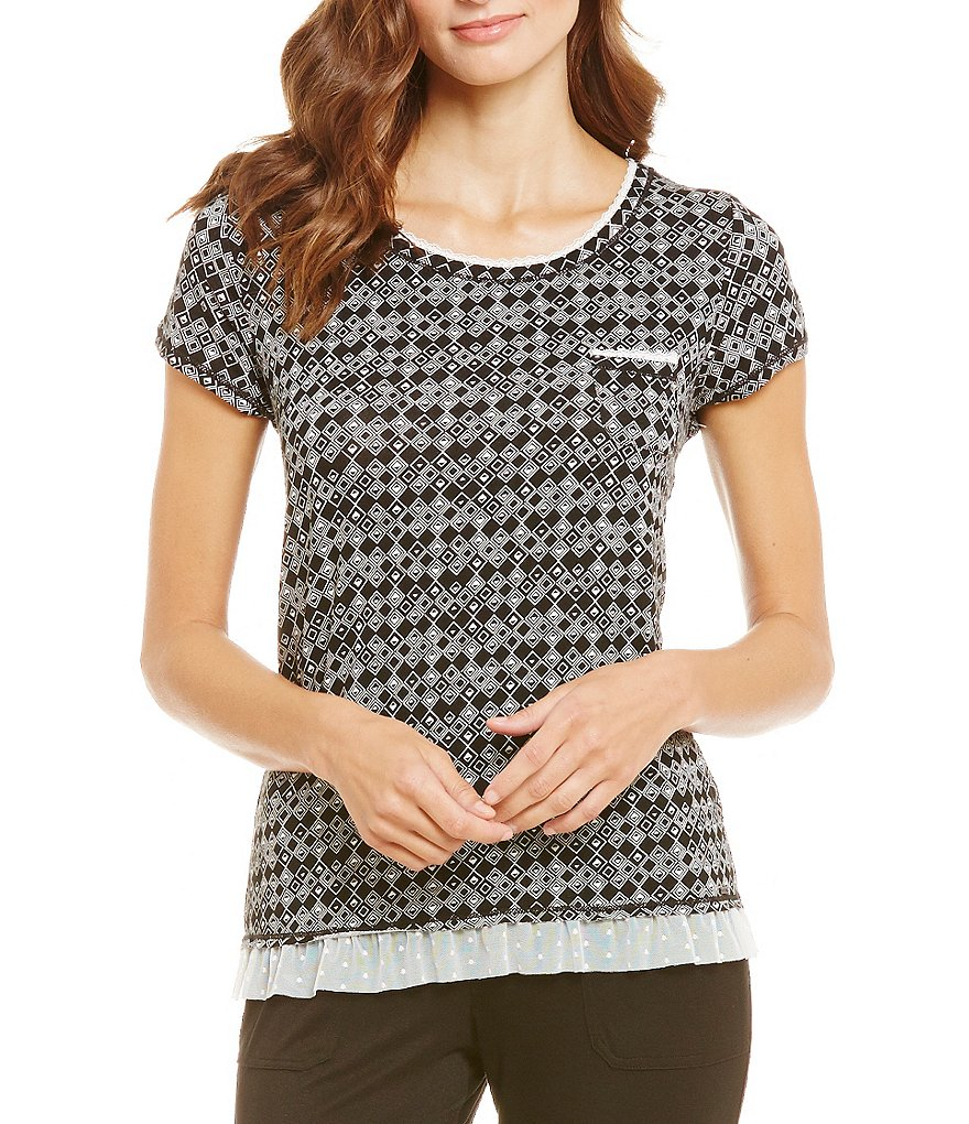 Kensie Geometric Jersey Sleep Top