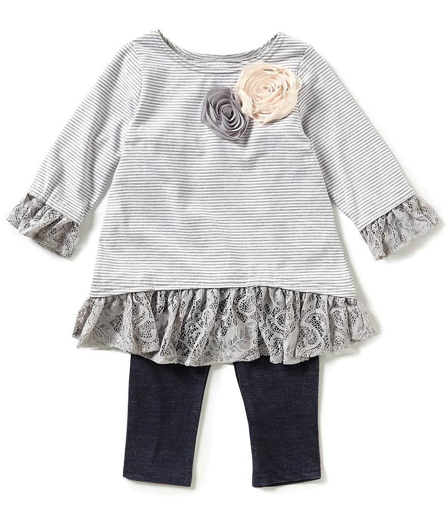 Marmellata Little Girls 2T-6X Striped Floral-Applique Top & Leggings Set
