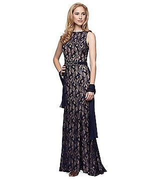 Alex Evenings Petite Beaded Lace Gown
