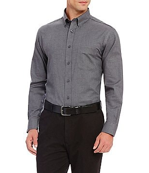 Daniel Cremieux Signature Big & Tall Long-Sleeve Solid Heather Woven Shirt