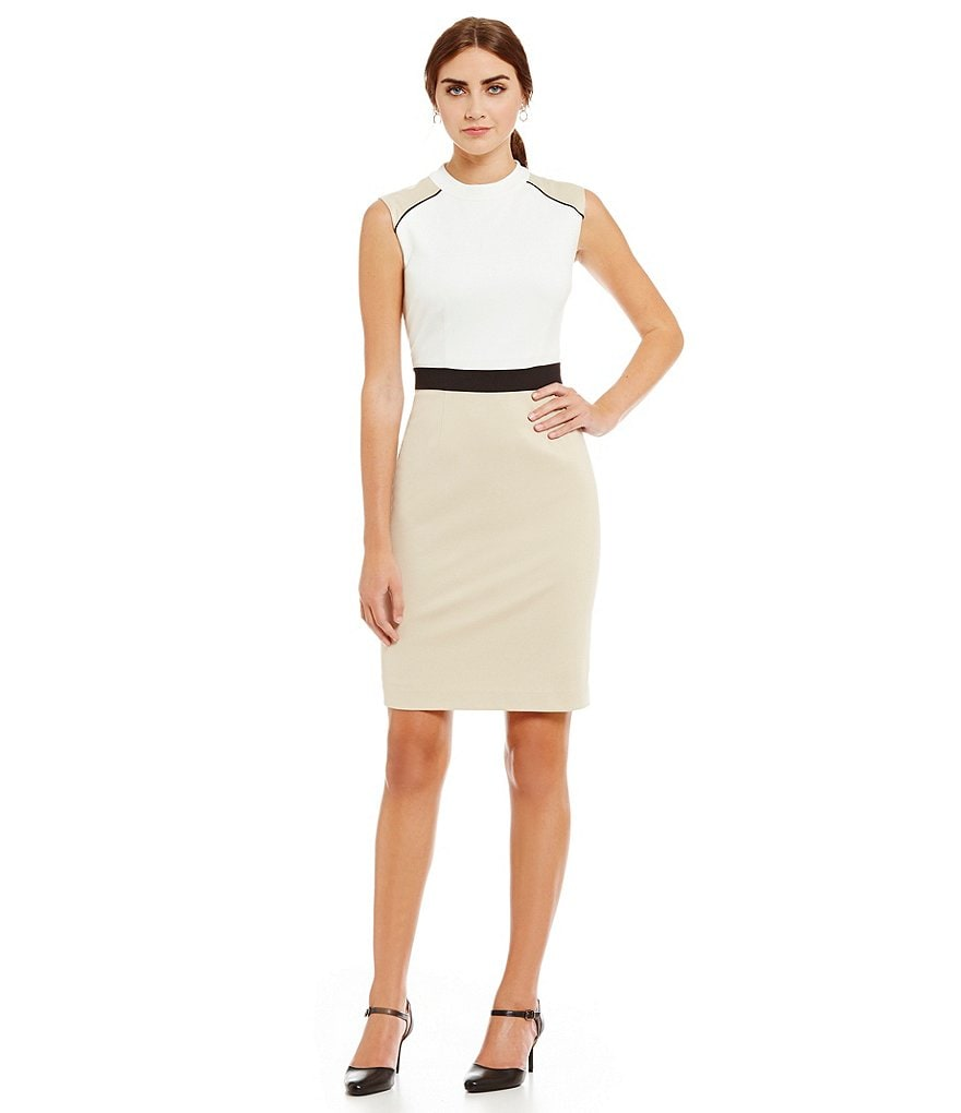 Preston & York Cortney Ponte Sheath Mock Neck Dress