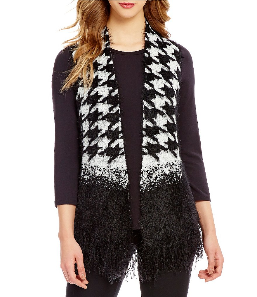 Investments Eyelash Fringe Open Front Houndstooth Print Vest