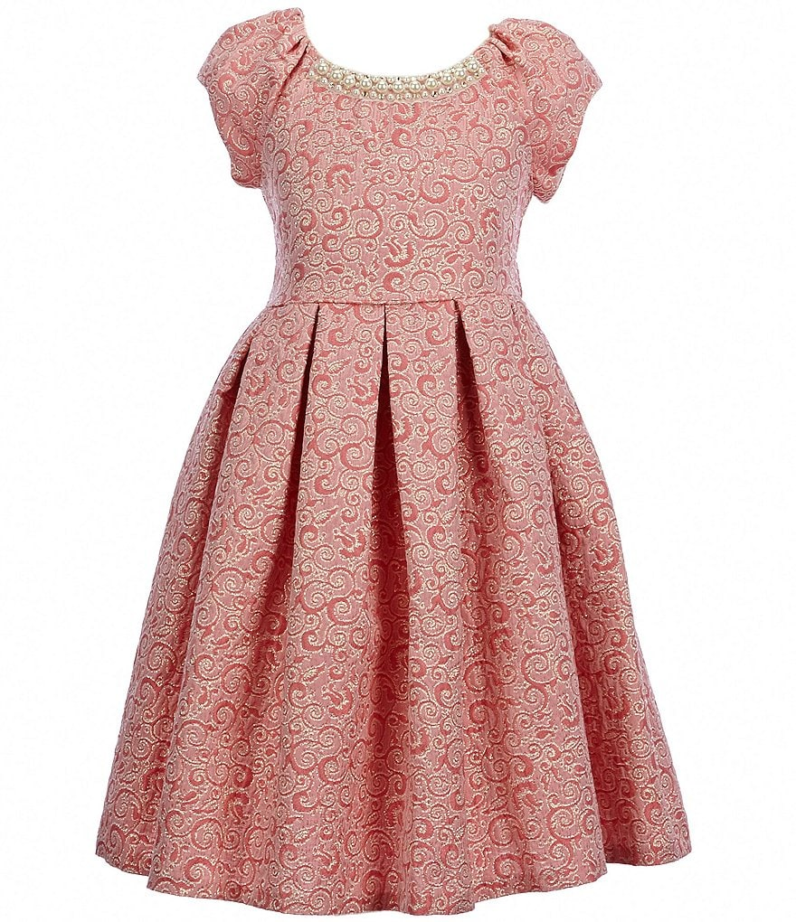 Bonnie Jean Little Girls 4-6X Jeweled-Neck Pleated A-Line Dress