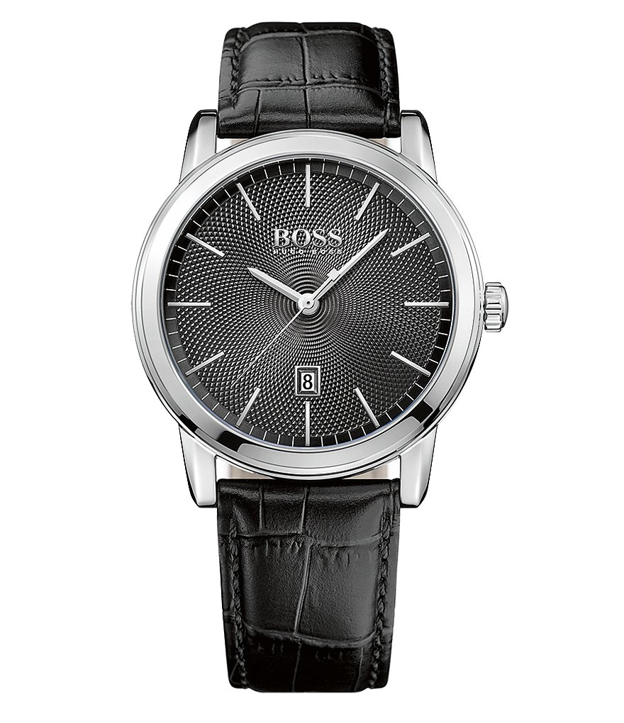 BOSS Classic Analog & Date Crocodile-Embossed Leather-Strap Watch