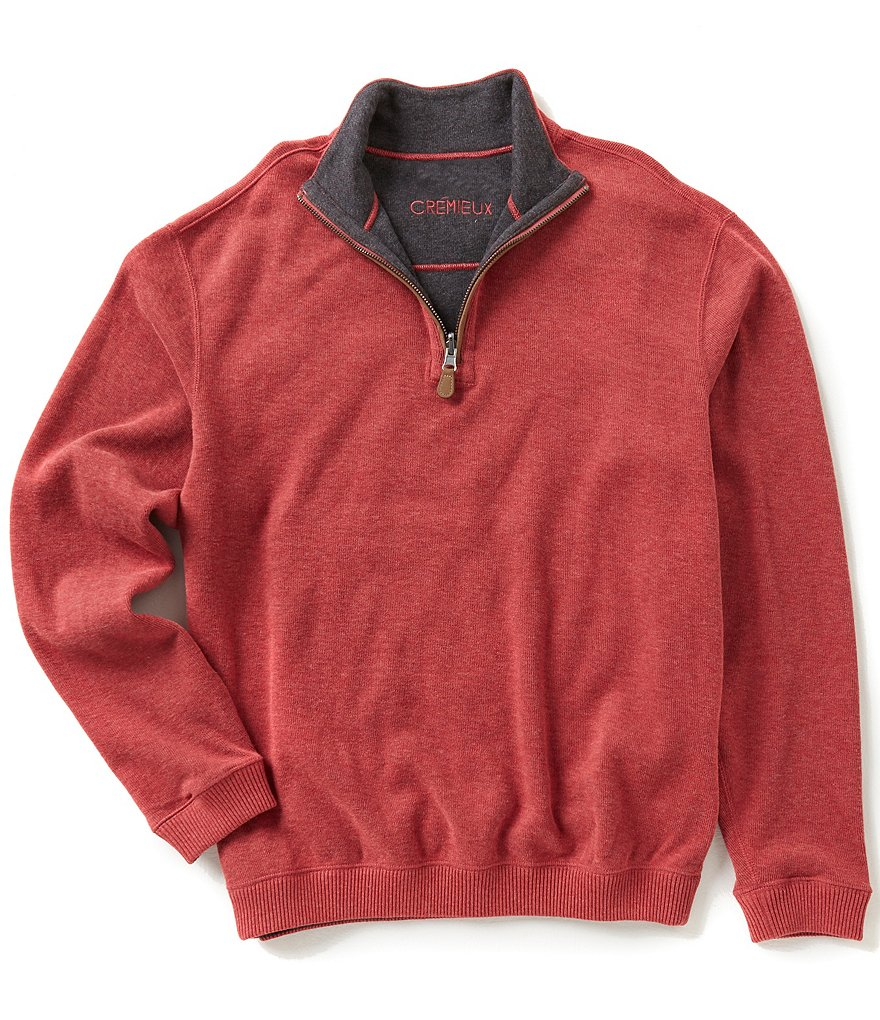 Cremieux Big & Tall Reversible Quarter-Zip Elbow Patch Long-Sleeve Pullover