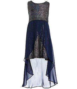 Tween Diva Big Girls 7-16 Metallic High-Low Dress