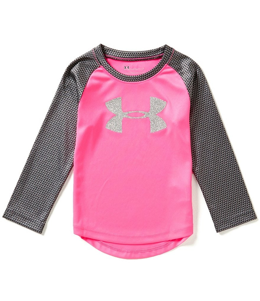 Under Armour Little Girls 2T-6X Checkpoint Shimmer Raglan-Long-Sleeve Tee