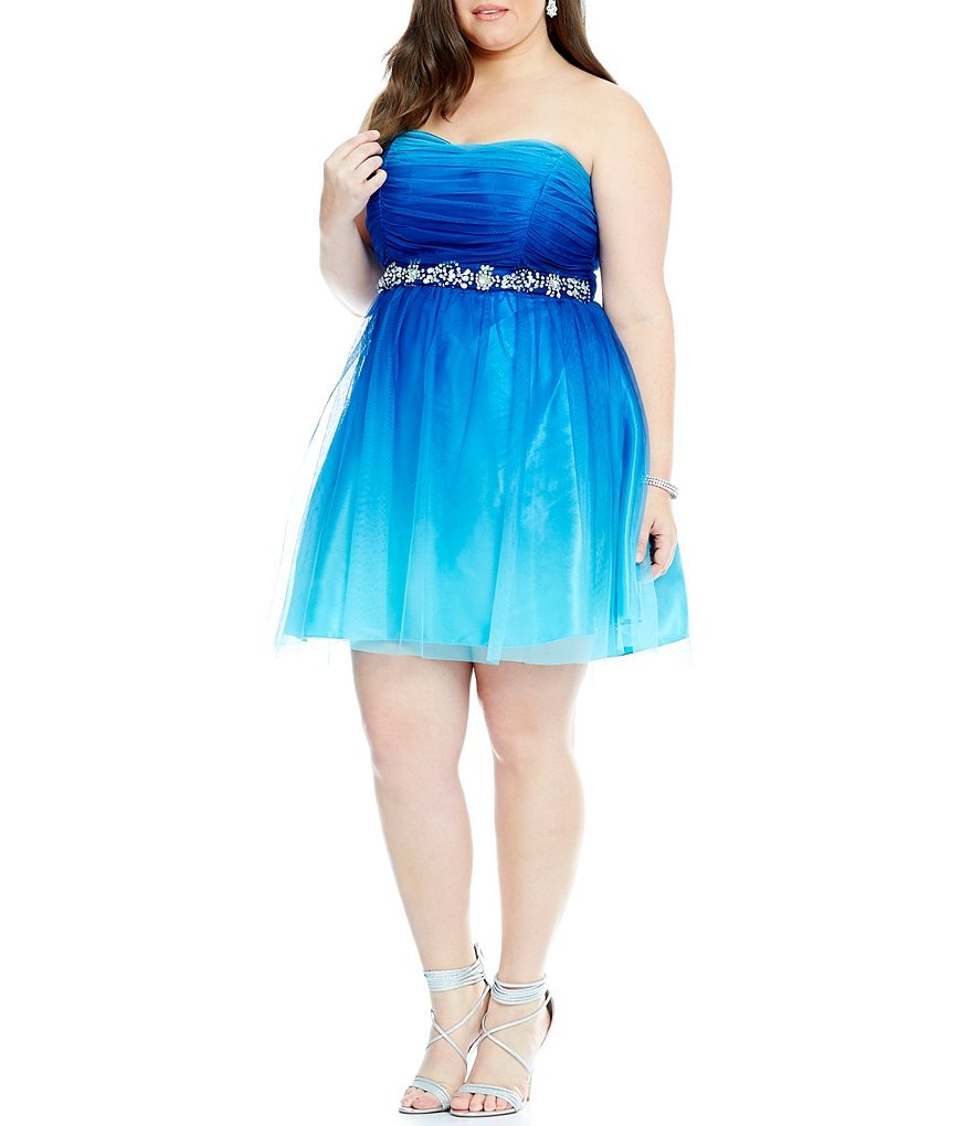 B. Darlin Plus Strapless Ombre Jeweled-Waist Party Dress