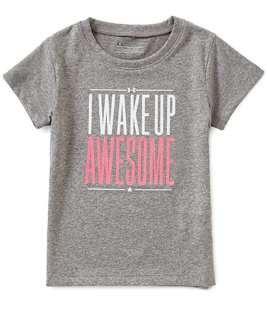 Under Armour Little Girls 2T-6X I Wake Up Awesome Short-Sleeve Tee