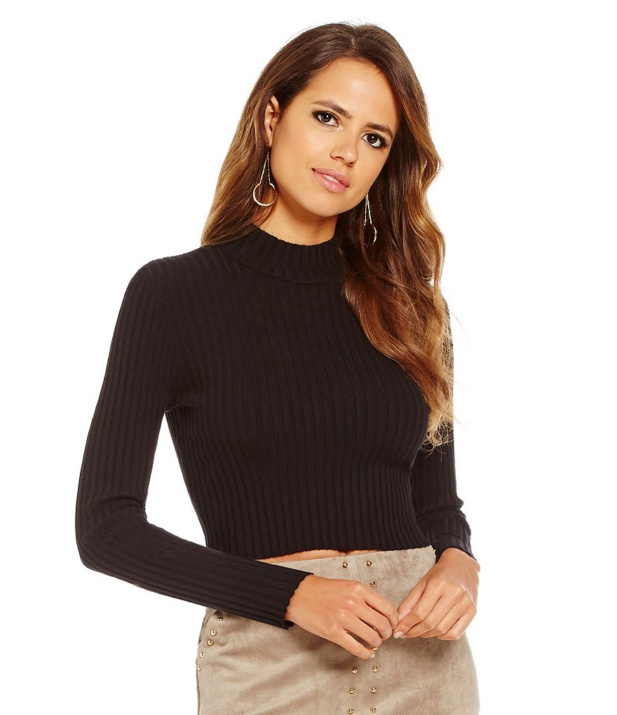 Gianni Bini Trenton Mockneck Crop Rib Knit Sweater