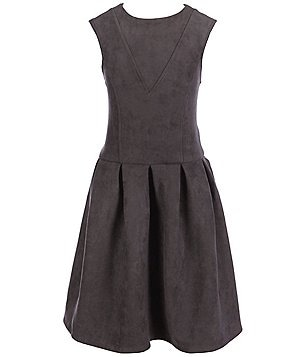 Miss Behave Big Girls 8-16 Chiara Faux Suede Skater Dress